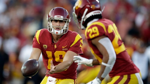 <p>               Southern California quarterback Matt Fink (19) pitches to running back Vavae Malepeai (29) during the first half of an NCAA college football game against Utah on Friday, Sept. 20, 2019, in Los Angeles. (AP Photo/Marcio Jose Sanchez)             </p>