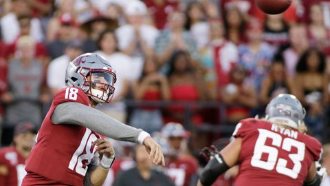 <p>               Washington State quarterback Anthony Gordon (18) throws a pass during the first half of the team's NCAA college football game against New Mexico State in Pullman, Wash., Saturday, Aug. 31, 2019. (AP Photo/Young Kwak)             </p>