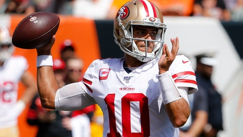 <p>               San Francisco 49ers quarterback Jimmy Garoppolo passes during the first half an NFL football game against the Cincinnati Bengals, Sunday, Sept. 15, 2019, in Cincinnati. (AP Photo/Frank Victores)             </p>