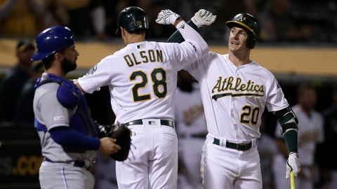 <p>               Oakland Athletics' Matt Olson (28) celebrates with Mark Canha, right, after hitting a home run off Kansas City Royals' Jorge Lopez during the seventh inning of a baseball game Tuesday, Sept. 17, 2019, in Oakland, Calif. (AP Photo/Ben Margot)             </p>