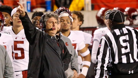 <p>               Washington State head coach Mike Leach speaks with a official in the first half of an NCAA college football game against Utah Saturday, Sept. 28, 2019, in Salt Lake City. (AP Photo/Rick Bowmer)             </p>