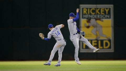 <p>               Kansas City Royals' Brett Phillips (14) celebrates the 6-5 win over the Oakland Athletics with Bubba Starling, right, at the end of a baseball game Monday, Sept. 16, 2019, in Oakland, Calif. (AP Photo/Ben Margot)             </p>