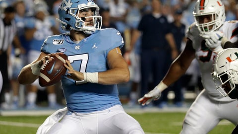 <p>               North Carolina's Sam Howell (7) looks to pass against Miami during the second quarter of an NCAA college football game in Chapel Hill, N.C., Saturday, Sept. 7, 2019. (AP Photo/Chris Seward)             </p>