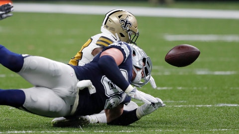 <p>               Dallas Cowboys tight end Jason Witten fumbles against New Orleans Saints strong safety Vonn Bell in the first half of an NFL football game in New Orleans, Sunday, Sept. 29, 2019. (AP Photo/Bill Feig)             </p>