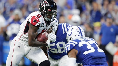 <p>               Atlanta Falcons wide receiver Julio Jones (11) is tackled by Indianapolis Colts safety Khari Willis (37) during the first half of an NFL football game, Sunday, Sept. 22, 2019, in Indianapolis. (AP Photo/Michael Conroy)             </p>