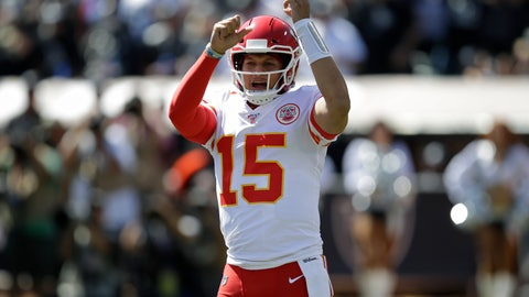 <p>               Kansas City Chiefs quarterback Patrick Mahomes (15) yells before a play during the first half of an NFL football game against the Oakland Raiders Sunday, Sept. 15, 2019, in Oakland, Calif. (AP Photo/Ben Margot)             </p>