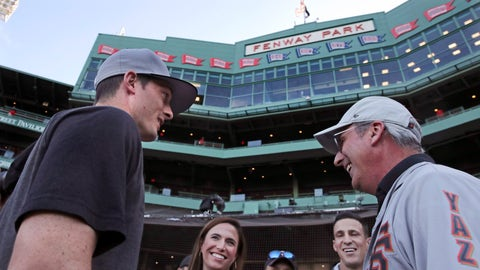 <p>               San Francisco Giants right fielder Mike Yastrzemski, left, talks with family and friends after batting practice prior to a baseball game against the Boston Red Sox at Fenway Park in Boston, Tuesday, Sept. 17, 2019. Yastrzemski is the grandson of Red Sox great and Hall of Famer Carl Yastrzemski. (AP Photo/Charles Krupa)             </p>