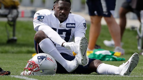 <p>               New England Patriots wide receiver Antonio Brown puts on his shoe during an NFL football practice, Wednesday, Sept. 18, 2019, in Foxborough, Mass. (AP Photo/Steven Senne)             </p>