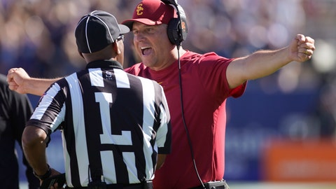 <p>               Southern California head coach Clay Helton argues with an official in the second half of an NCAA college football game against BYU, Saturday, Sept. 14, 2019, in Provo, Utah. BYU defeated USC 30-27. (AP Photo/George Frey)             </p>
