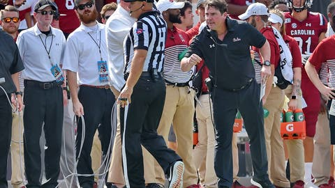 <p>               South Carolina head coach Will Muschamp has a word with an official during the first half of an NCAA college football game against Alabama Saturday, Sept. 14, 2019, in Columbia, S.C. (AP Photo/Richard Shiro)             </p>