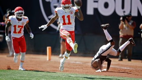 <p>               Kansas City Chiefs wide receiver Demarcus Robinson (11) celebrates after scoring a touchdown as teammate Mecole Hardman (17) looks on during the first half of an NFL football game against the Oakland Raiders Sunday, Sept. 15, 2019, in Oakland, Calif. At right is Oakland Raiders cornerback Gareon Conley. (AP Photo/Ben Margot)             </p>