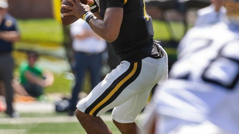 <p>               Missouri quarterback Kelly Bryant looks to pass during the first half of an NCAA college football game against West Virginia Saturday, Sept. 7, 2019, in Columbia, Mo. (AP Photo/L.G. Patterson)             </p>