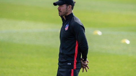 <p>               Atletico Madrid coach Diego Simeone attends a training session in Majadahonda, outskirts of Madrid, Spain, Tuesday, Sept. 17, 2019. Atletico Madrid will play its Champions League soccer match against Juventus on Wednesday. (AP Photo/Bernat Armangue)             </p>