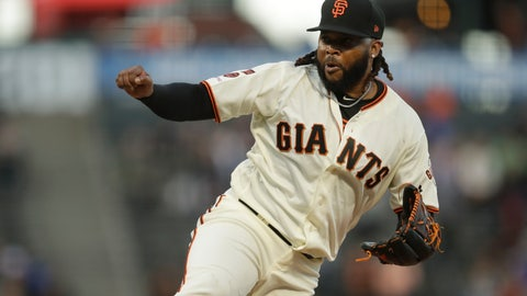 <p>               San Francisco Giants pitcher Johnny Cueto works against the Pittsburgh Pirates during the first inning of a baseball game Tuesday, Sept. 10, 2019, in San Francisco. (AP Photo/Ben Margot)             </p>