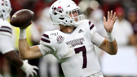 <p>               FILE - In this Aug. 31, 2019, file photo, Mississippi State quarterback Tommy Stevens (7) throws in the second quarter of an NCAA college football game against Louisiana-Lafayette in New Orleans. Mississippi State coach Joe Moorhead updates his quarterback situation heading into its Southeastern Conference opener with Kentucky after both starter Tommy Stevens and freshman Garrett Shrader played in each of the Bulldogs' last two games. (AP Photo/Chuck Cook, File)             </p>