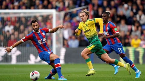 <p>               Crystal Palace's Luka Milivojevic, left, and Norwich City's Todd Cantwell in action during their English Premier League soccer match at Selhurst Park in London, Saturday Sept. 28, 2019. (John Walton/PA via AP)             </p>