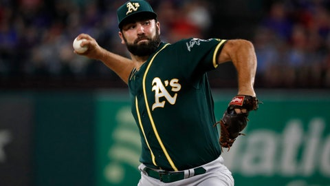 """<p>               FILE - In this Sept. 14, 2019, file photo, Oakland Athletics relief pitcher Lou Trivino works against the Texas Rangers during a baseball game in Arlington, Texas.  Trivino will miss the rest of the regular season and likely the playoffs after cracking a rib falling in the shower. Manager Bob Melvin said Tuesday, Sept. 24, he did not expect Trivino to be available in the postseason should the A's secure a spot after the 27-year-old right-hander was injured in his Bay Area apartment last week. """"We're saying, for sure, the regular season,"""" Melvin said. """"He's going to get a second opinion, I think, at some point in time here, but it doesn't look great, unfortunately."""" (AP Photo/Tony Gutierrez, File)             </p>"""