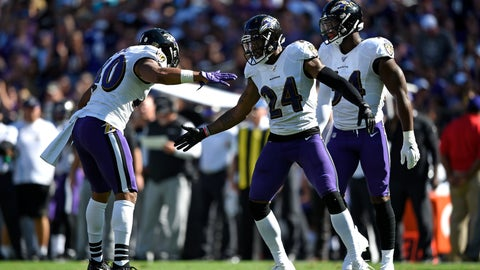 <p>               Baltimore Ravens cornerback Brandon Carr (24) celebrates with teammate Kenny Young, left, after a play in the second half of an NFL football game against the Arizona Cardinals, Sunday, Sept. 15, 2019, in Baltimore. (AP Photo/Gail Burton)             </p>