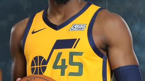 <p>               Utah Jazz guard Donovan Mitchell (45) poses for a photograph during the NBA basketball team's media day Monday, Sept. 30, 2019, in Salt Lake City. Mitchell averaged 23.8 points and 4.2 assists in his second season, but struggled at times with his scoring efficiency. (AP Photo/Rick Bowmer)             </p>