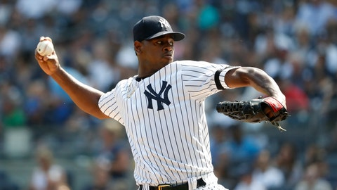 <p>               New York Yankees starting pitcher Luis Severino pitches against the Toronto Blue Jays during the first inning of a baseball game, Sunday, Sept. 22, 2019, in New York. (AP Photo/Michael Owens)             </p>