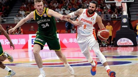 <p>               Ricky Rubio of Spain, right, drives past Jock Landale of Australia during their semifinal match in the FIBA Basketball World Cup at the Cadillac Arena in Beijing, Friday, Sept. 13, 2019. (AP Photo/Mark Schiefelbein)             </p>