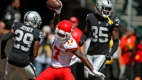 <p>               Kansas City Chiefs wide receiver Mecole Hardman (17) celebrates after scoring a touchdown during the first half of an NFL football game against the Oakland Raiders Sunday, Sept. 15, 2019, in Oakland, Calif. At left is Oakland Raiders free safety Lamarcus Joyner (29) and free safety Curtis Riley (35). (AP Photo/D. Ross Cameron)             </p>