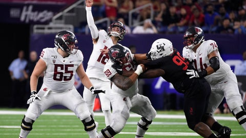 <p>               Washington State quarterback Anthony Gordon throws a touchdown pass during the first half of the team's NCAA college football game against Houston, Friday, Sept. 13, 2019, in Houston. (AP Photo/Eric Christian Smith)             </p>