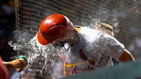 <p>               St. Louis Cardinals' Matt Carpenter is doused with water in the dugout after he hit a home run against the Chicago Cubs during the 10th inning of a baseball game Thursday, Sept. 19, 2019, in Chicago. (AP Photo/Matt Marton)             </p>