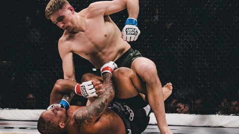 <p>               In this Feb. 16, 2019 photo, provided by Cage Fury Fighting Championships, Kyle Daukaus, top, battles Jonavin Webb during a mixed martial arts bout in Atlantic City, N.J. Daukaus was so close from signing a UFC contract when he appeared on the promotion's reality show. But the Philadelphia fighter was told he needed more work and returns to fight Saturday on the Cage Fury Fighting Championships card at Parx Casino in Bensalem, Pa.. (Nick Vespe/Cage Fury Fighting Championships via AP)             </p>