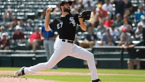 <p>               Chicago White Sox starting pitcher Lucas Giolito delivers during the first inning of a baseball game against the Kansas City Royals Thursday, Sept. 12, 2019, in Chicago. (AP Photo/Charles Rex Arbogast)             </p>