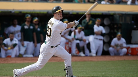 <p>               Oakland Athletics' Mark Canha hits a double to score Jurickson Profar during the 11th inning of a baseball game against the Kansas City Royals in Oakland, Calif., Wednesday, Sept. 18, 2019. The Athletics defeated the Kansas City Royals 1-0 in 11 innings. (AP Photo/Jeff Chiu)             </p>