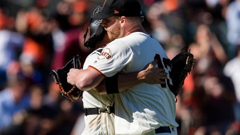 <p>               San Francisco Giants closing pitcher Will Smith, right, and catcher Stephen Vogt celebrate after defeating the Miami Marlins in a baseball game in San Francisco, Sunday, Sept. 15, 2019.  (AP Photo/John Hefti)             </p>