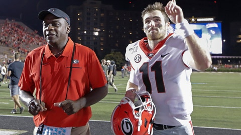 <p>               Georgia quarterback Jake Fromm (11) gestures to fans as he leaves the field after an NCAA college football game against Vanderbilt, Saturday, Aug. 31, 2019, in Nashville, Tenn. (AP Photo/Mark Humphrey)             </p>