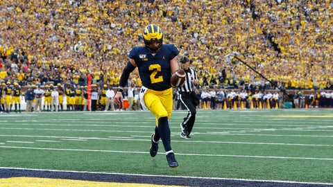 <p>               Michigan quarterback Shea Patterson (2) scores on a two-yard touchdown run in the first half of an NCAA college football game against Rutgers in Ann Arbor, Mich., Saturday, Sept. 28, 2019. (AP Photo/Paul Sancya)             </p>
