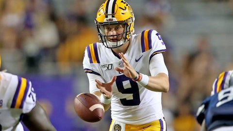 <p>               LSU quarterback Joe Burrow (9) takes a snap during the third quarter of the team's NCAA football game against Georgia Southern in Baton Rouge, La., Saturday, Aug. 31, 2019. Burrow tied an LSU single-game record with five touchdown passes before halftime. (AP Photo/Michael Democker)             </p>