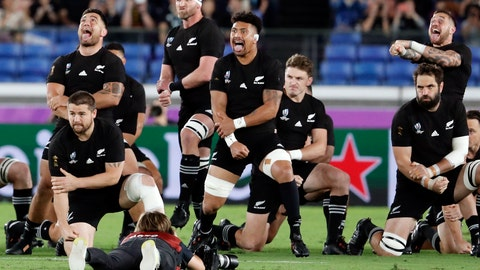 <p>               In this Saturday, Sept. 21, 2019, photo, New Zealand's All Blacks perform their haka ahead of the start of the Rugby World Cup Pool B game between New Zealand and South Africa in Yokohama, Japan. (AP Photo/Shuji Kajiyama, File)             </p>