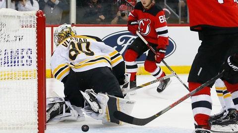 <p>               New Jersey Devils center Jack Hughes (86) scores a goal against Boston Bruins goaltender Kyle Keyser (85) during the second period of an NHL preseason hockey game Monday, Sept. 16, 2019, in Newark,N.J. (AP Photo/Noah K. Murray)             </p>