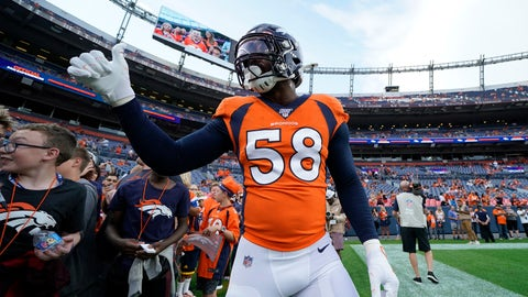 <p>               Denver Broncos outside linebacker Von Miller (58) gives a thumbs up tp fans prior to an NFL preseason football game against the Arizona Cardinals, Thursday, Aug. 29, 2019, in Denver. (AP Photo/Jack Dempsey)             </p>