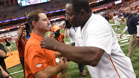 <p>               Clemson coach Dabo Swinney, left, and Syracuse coach Dino Babers congratulate each other after an NCAA college football game Saturday, Sept. 14, 2019, in Syracuse, N.Y. (AP Photo/Steve Jacobs)             </p>