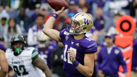 <p>               Washington quarterback Jacob Eason passes against Hawaii during the first half of an NCAA college football game, Saturday, Sept. 14, 2019, in Seattle. (AP Photo/Ted S. Warren)             </p>