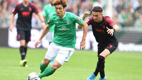 <p>               Bremen's Yuya Osako, left, and Augsburg's Ruben Vargas challenge for the ball during the Bundesliga soccer match between Werder Bremen and FC Augsburg in Bremen, Germany, Sunday, Sept. 1, 2019. (Carmen Jaspersen/dpa via AP)             </p>