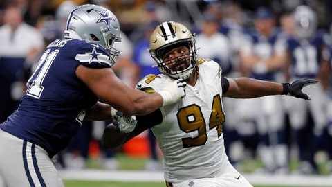 <p>               New Orleans Saints defensive end Cameron Jordan (94) pass rushes against Dallas Cowboys offensive tackle La'el Collins (71) in the second half of an NFL football game in New Orleans, Sunday, Sept. 29, 2019. (AP Photo/Bill Feig)             </p>