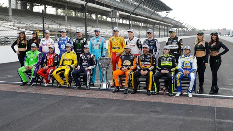 <p>               Drivers who qualified the NASCAR Cup Series playoff pose on the the start/finish line following the Brickyard 400 auto race at Indianapolis Motor Speedway, Sunday, Sept. 8, 2019, in Indianapolis. (AP Photo/Darron Cummings)             </p>