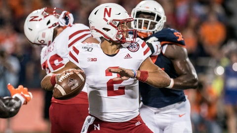 <p>               Nebraska quarterback Adrian Martinez (2) passes in the first half of an NCAA college football game against Illinois, Saturday, Sept. 21, 2019, in Champaign, Ill. (AP Photo/Holly Hart)             </p>