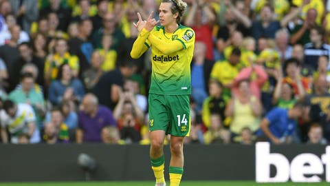 <p>               Norwich City's Todd Cantwell celebrates scoring his side's second goal of the game during the English Premier League soccer match between Norwich City and Manchester City at Carrow Road, Norwich, England, Saturday, Sept. 14, 2019. (Joe Giddens/PA via AP)             </p>