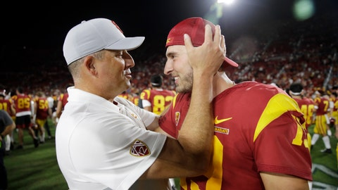 <p>               Southern California coach Clay Helton, left, hugs quarterback Matt Fink after the team's 30-23 win over Utah in an NCAA college football game Friday, Sept. 20, 2019, in Los Angeles. (AP Photo/Marcio Jose Sanchez)             </p>