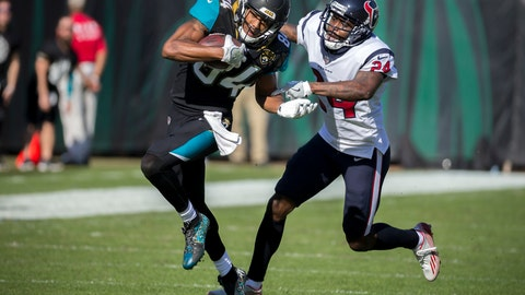 <p>               FILE - In this Sunday, Dec. 17, 2017, file photo, Jacksonville Jaguars wide receiver Keelan Cole (84) is tackled by Houston Texans cornerback Johnathan Joseph (24) during the first half of an NFL football game in Jacksonville, Fla. Defensive backs AJ Bouye and Johnathan Joseph will to use the Jaguars-Texans game in London on Nov. 3, 2019 to raise awareness of the fight against cancer. Bouye and Joseph, who have both lost parents to cancer, will donate their tickets to a lucky fan in an effort to raise more awareness for the NFL's Crucial Catch's mission.(AP Photo/Stephen B. Morton, File)             </p>