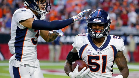 <p>               FILE - In this Oct. 18, 2018, file photo, Denver Broncos linebacker Todd Davis (51) celebrates his interception for a touchdown with free safety Justin Simmons during the first half of an NFL football game against the Arizona Cardinals in Glendale, Ariz. Davis practiced Wednesday, Sept. 11, for the first time since tearing his left calf on the first day of training camp July 18. Davis, who was the team's leading tackler last season, said he hopes to play Sunday against the Chicago Bears. (AP Photo/Rick Scuteri, File)             </p>