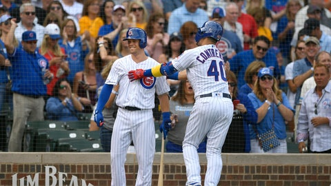<p>               Chicago Cubs' Willson Contreras (40) celebrates with teammate Nico Hoerner left, after hitting a solo home run during the first inning of a baseball game against the Pittsburgh Pirates, Friday, Sept. 13, 2019, in Chicago. (AP Photo/Paul Beaty)             </p>