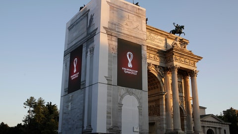 <p>               The Qatar 2022 World Cup logo, left, is displayed at the Arch of Peace, on the occasion of its worldwide launch, in Milan, Italy, Tuesday, Sept. 3, 2019. (AP Photo/Luca Bruno)             </p>